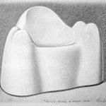 Fauteuil molaire de Wendell Castle, mine de plomb sur papier, 50x65cm, 2016