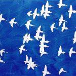 Vol de perruches, acrylique sur toile, 97x130cm, 1993, collection particulière