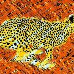 La course du guépard, acrylique sur toile, 65x100cm, 1995