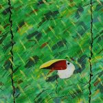 Composition aux deux palmiers, acrylique sur toile, 97x146cm, 1995