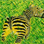 Composition au zèbre, acrylique sur toile, 81x100cm, 1998, Banque Populaire du Val de France