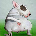 Petite composition au bull-terrier|2005, acrylique sur toile, 27x22cm, collection particulière