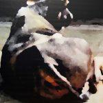 Etude de zoo, buffle|2015, encre et acrylique sur toile, 130x97cm