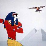 Horus et le guépier, acrylique sur toile, 81x100cm, 1989, collection particulière