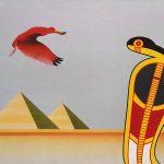 Uraeus et l'ibis, acrylique sur toile, 46x65cm, 1989, collection de l'artiste