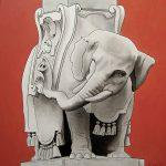 L'elefantino della minerva, acrylique sur toile, 60x60cm, 2007, collection particulière
