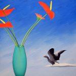 Composition à l'oie cendrée, acrylique sur toile, 70x70cm, 1993