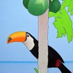 Toucan et pastèques|2006, acrylique sur toile, 81x54cm