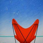 La terrasse, acrylique sur toile, 70x70cm, 1993, collection de l'artiste