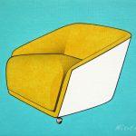 Composition avec fauteuil de Gio Ponti, acrylique sur toile, 19x24cm, 2005