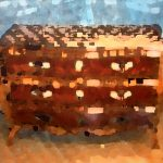Composition à la commode, acrylique sur toile, 97x130cm, 2014