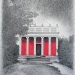 Palazzo ardente, mine de plomb, crayon de couleur et pastel sur papier, 65x50cm, 2008, collection particuliére