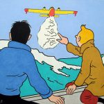 La douche écossaise (d'après Hergé), acrylique sur toile, 46x55cm, 2007